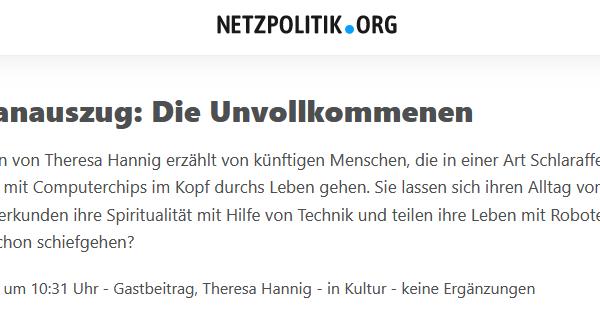 """Exklusiver Romanauszug aus """"Die Unvollkommenen"""" auf netzpolitik.org"""