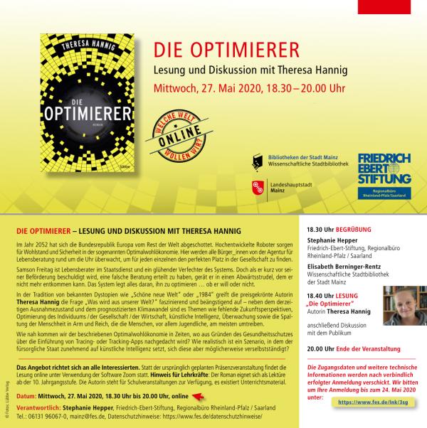 "Online-Lesung meines Romans ""Die Optimierer"""
